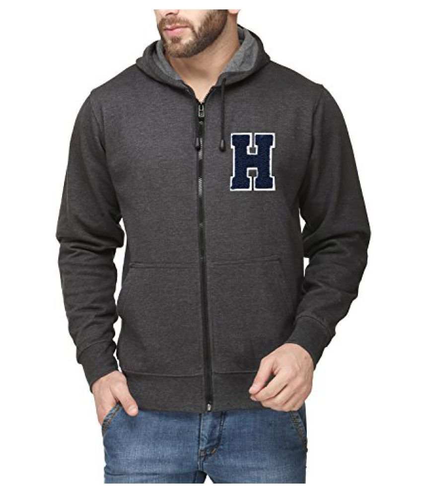 Scott Mens Premium Cotton Blend Pullover Hoodie Sweatshirt with Zip and Flocking Letter - Charcoal - HESSlZ1_XXL
