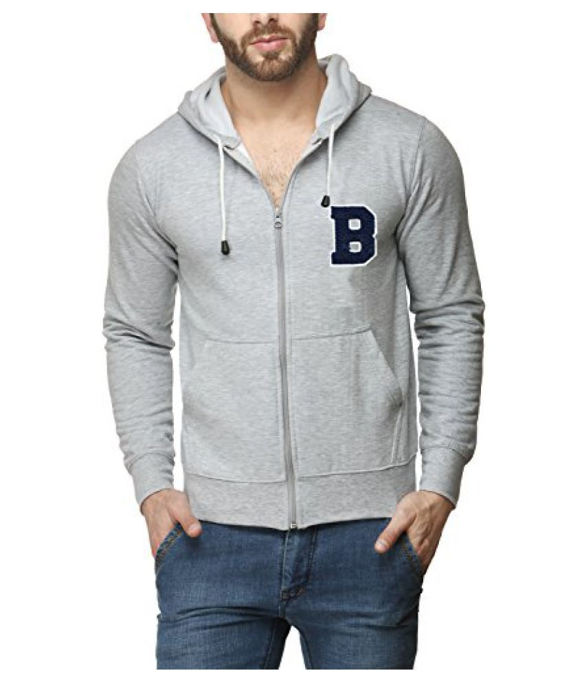 Scott Mens Premium Cotton Blend Pullover Hoodie Sweatshirt with Zip and Flocking Letter - Grey - BESSlZ3_XL