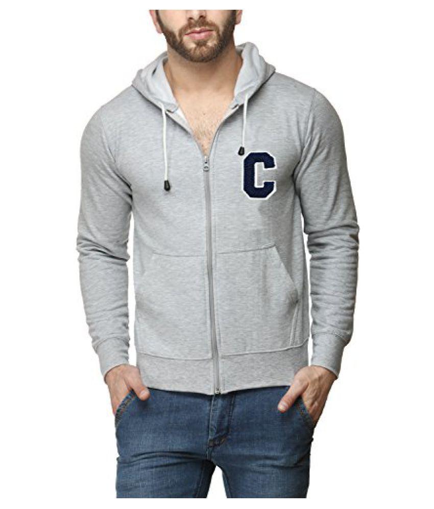 Scott Mens Premium Cotton Flocking Letter Pullover Hoodie Sweatshirt WITH Zip - Grey