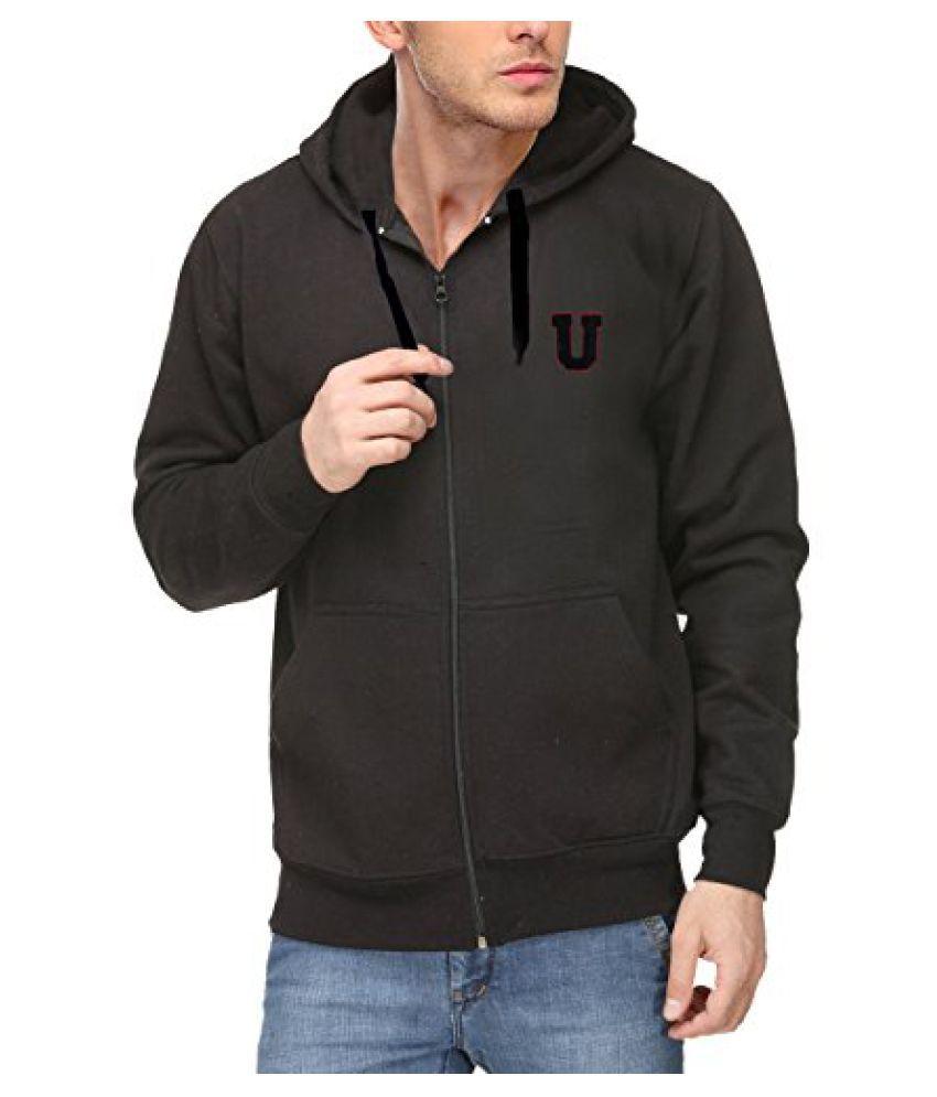 Scott Mens Premium Cotton Flocking Letter Pullover Hoodie Sweatshirt WITH Zip - Black