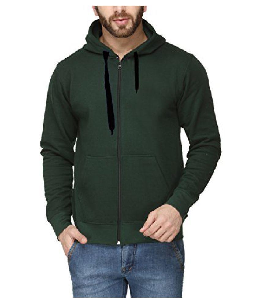 Scott Mens Premium Rich Cotton Cotton Hoodie Sweatshirt with Zip - Bottle Green