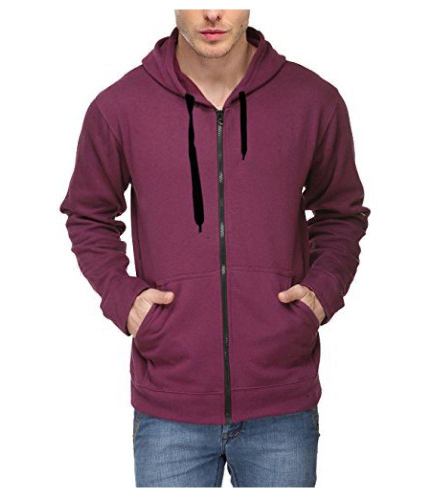Scott Mens Premium Rich Cotton Cotton Hoodie Sweatshirt with Zip - Maroon