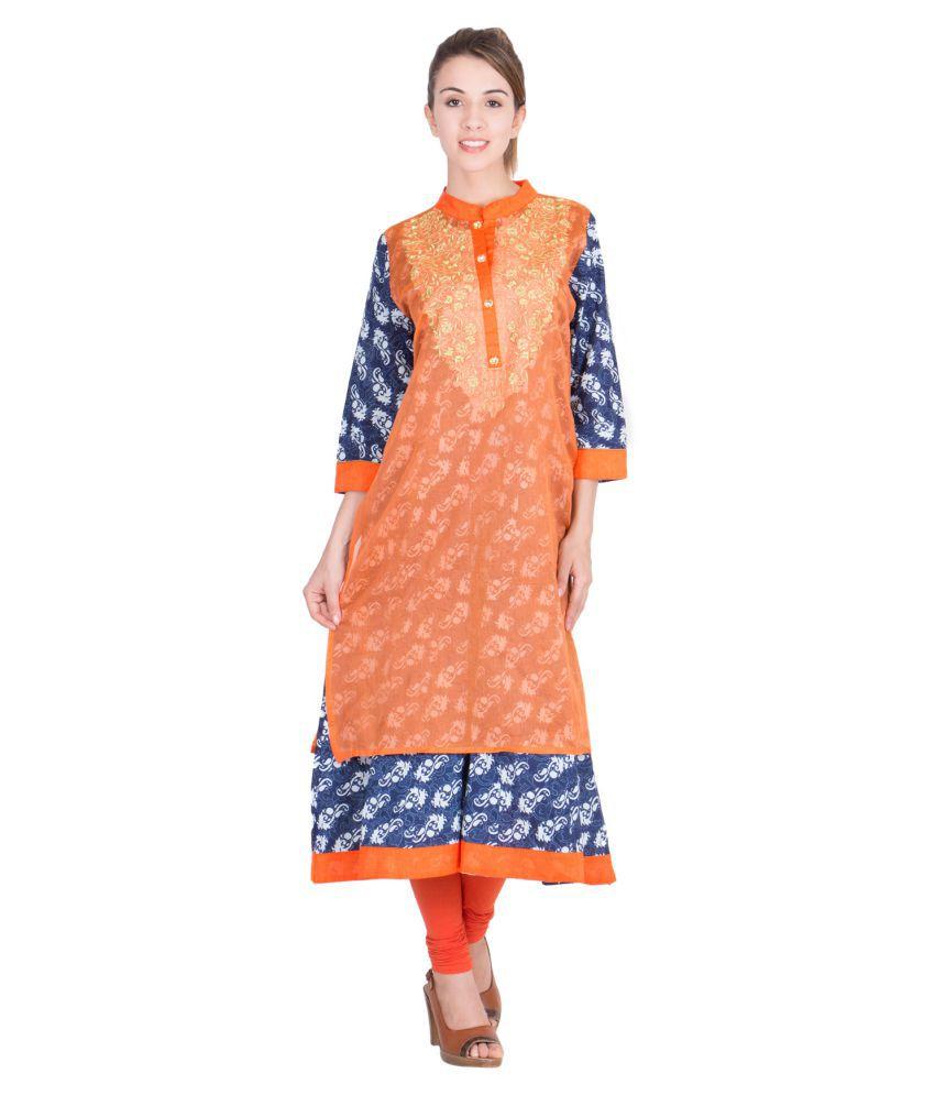 Trendy Time Orange Cotton A-line Kurti