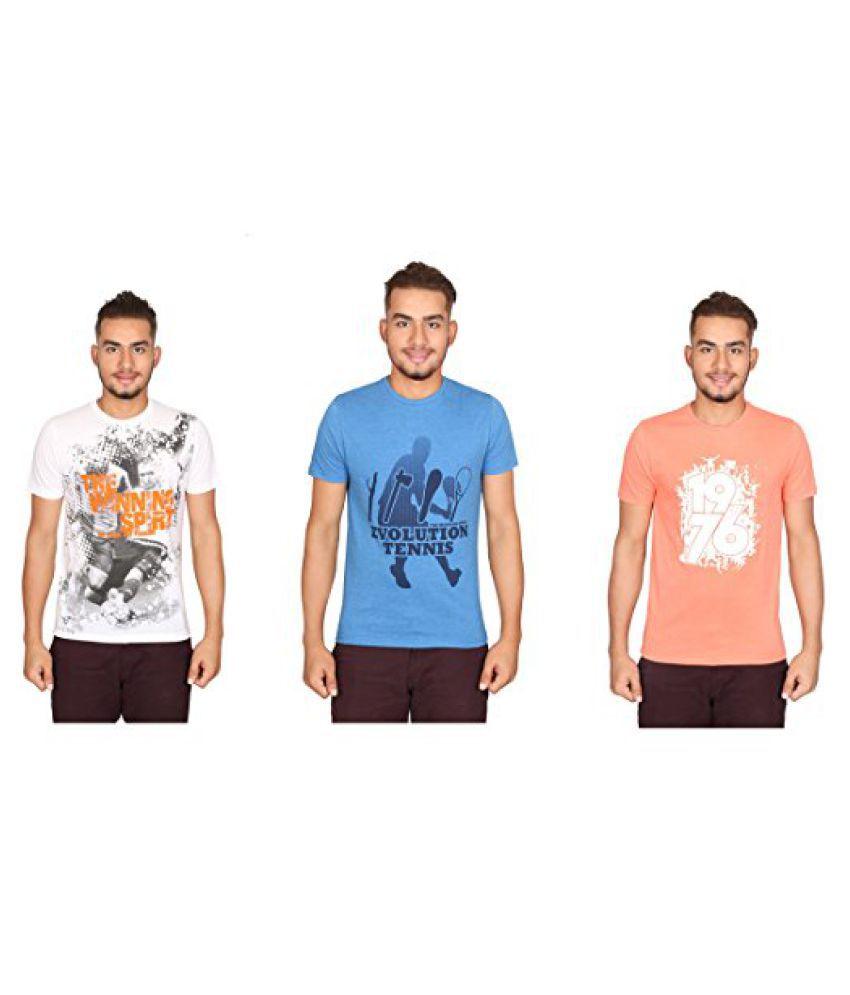 Vector X Pack of 3 VTC-001-JFI Half Sleeves Cotton round neck T shirts (White-Blue-Orange)