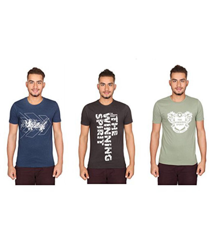 Vector X Pack of 3 VTC-001-CGE Cotton Round Neck T-Shirts (Blue-Brown-Green)