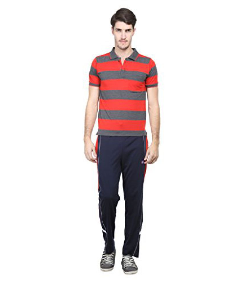 Vimal Red & Blue Cotton Blend Top & Pyjama Set For Men
