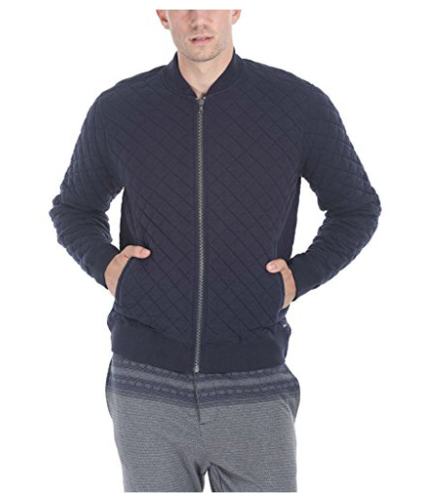 Zobello Mens Solid Quilted Bomber Jacket