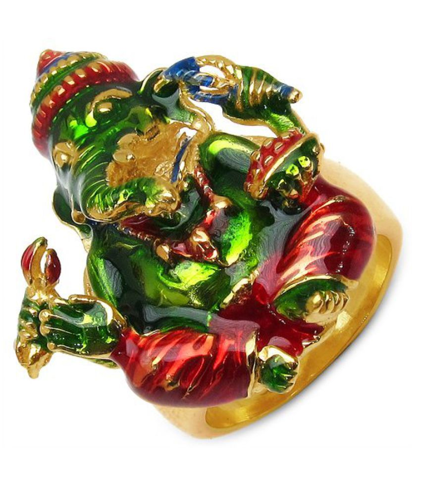 17.30 Grams Gold Plated .925 Sterling Silver Lord Ganesha Shape Green, Red & Blue Enamel Ring