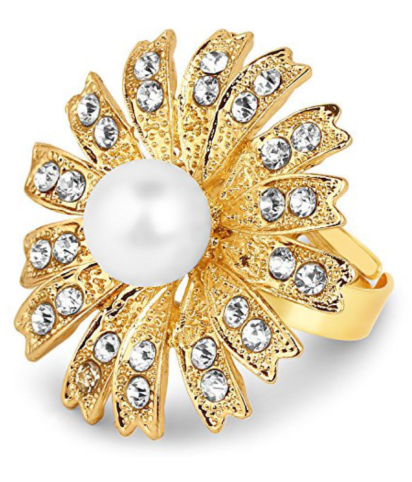 Gold Plated Fashion Statement Floral Shape Pearl Studded Ring for women