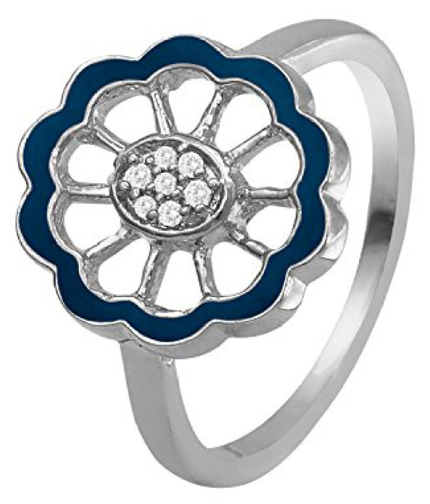 Mahi CZ Blue Floral Rhodium Plated Finger Ring for Women FR1193669RBlu