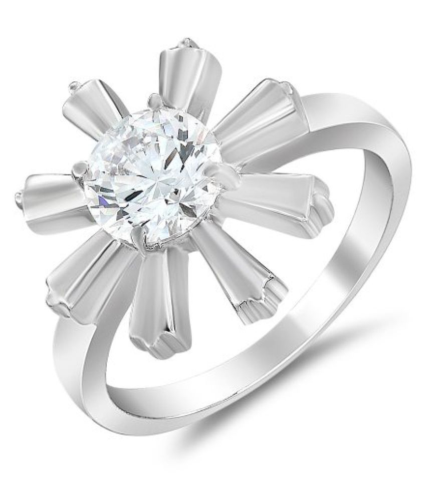 Mahi with Swarovski Zirconia Solitaire Flower Rhodium Plated Daring Beauty Finger Ring for Women FR1105003R