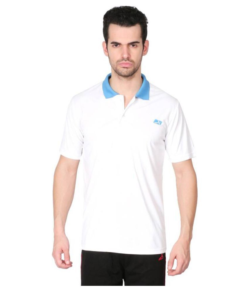 Vector X Solid Men's Polo Neck White T-Shirt