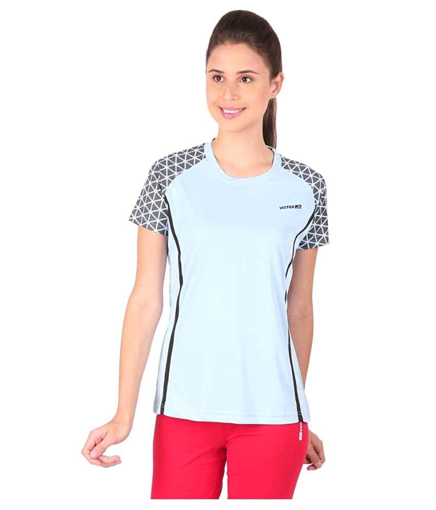 Vector X Printed Women's Round Neck Light Blue T-Shirt