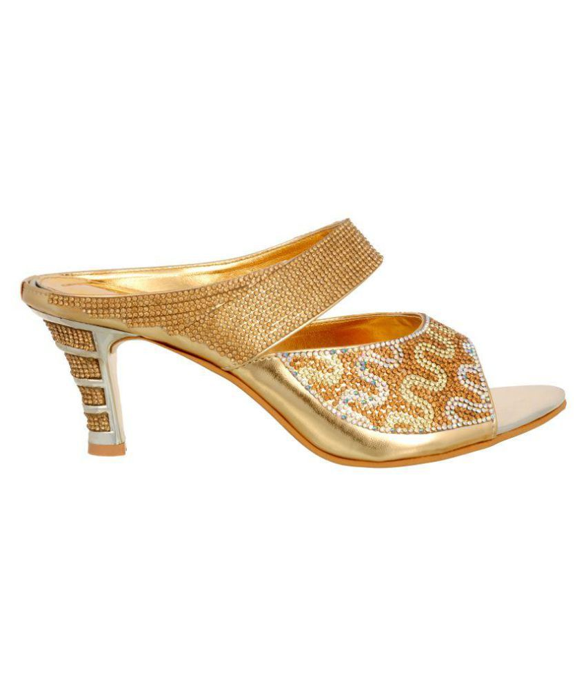 Zionk Gold Kitten Heels