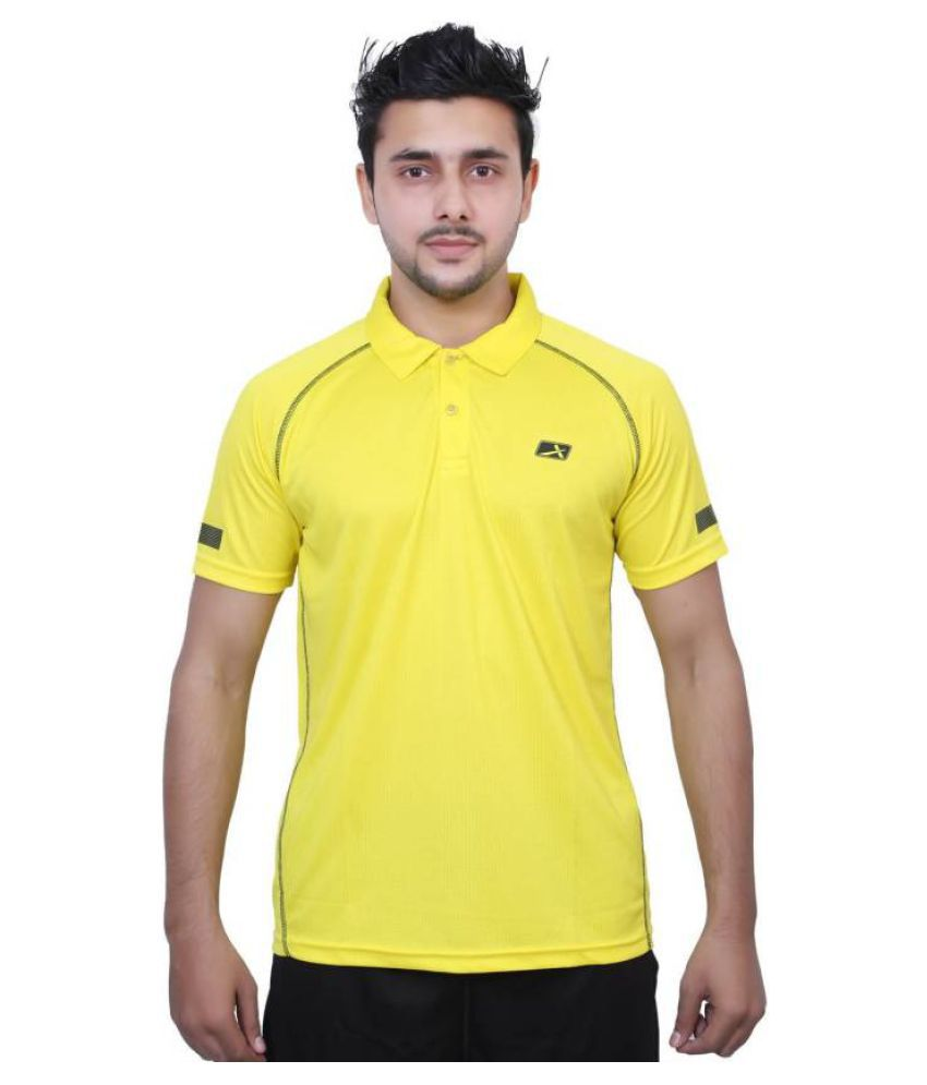 Vector X Solid Men's Polo Neck Yellow T-Shirt