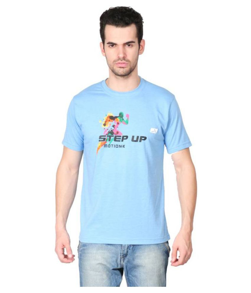 Vector X Solid Men's Round Neck Light Blue T-Shirt