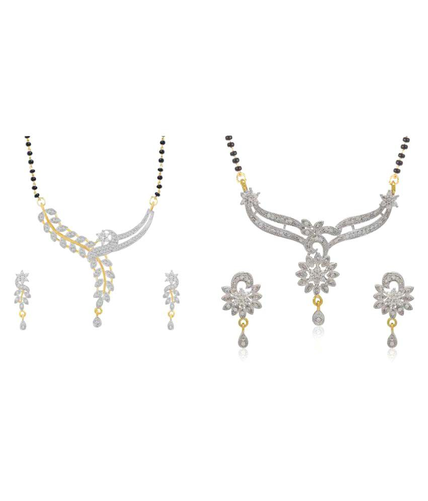 Jewels Royale Combo of Silver Studded Alloy 2 Mangalsutra Necklace and 2+2 Earings for Women (JR-N1_N23)