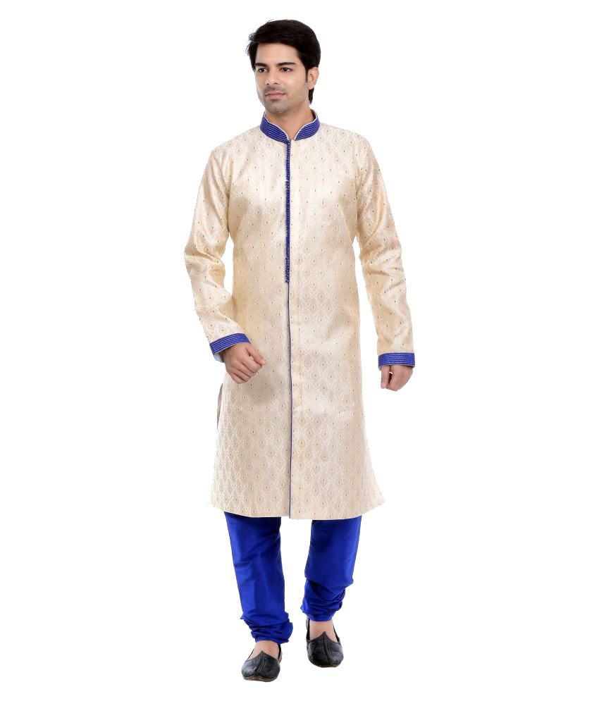 Vastramay Gold Cotton Blend Sherwani