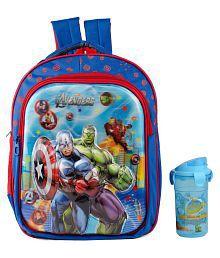 Uxpress Avengers Blue School Bag With Water Bottle