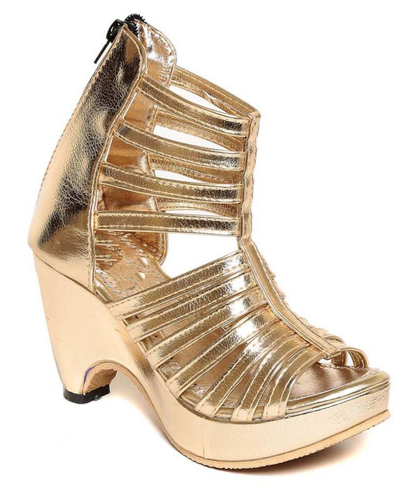 Shoe Lab Gold Block Heels