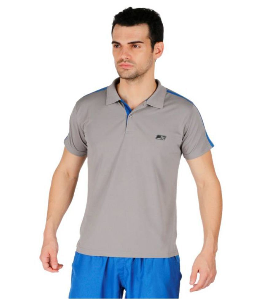 Vector X Solid Men's Polo Neck Grey T-Shirt