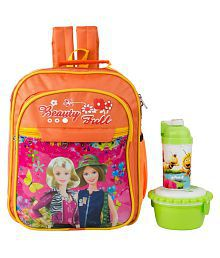Uxpress Barbie Orange School Bag With Water Bottle And Tiffin Box