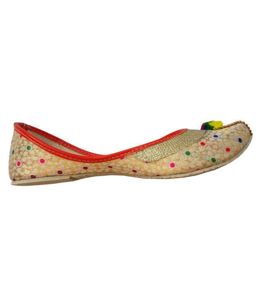 Gunina Beige Flat Ethnic Footwear