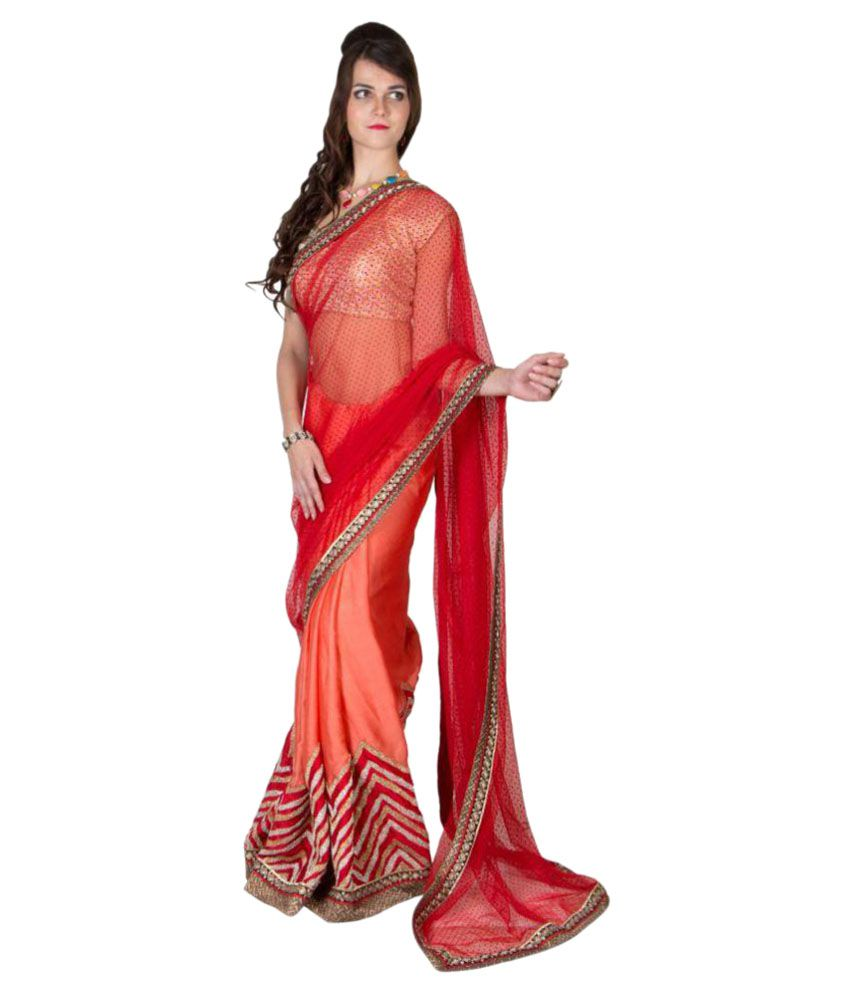 Pari Fashion Red Art Silk Saree
