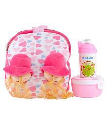 Uxpress Double Doll Face Fur School Bag With Water Bottle And Tiffin Box