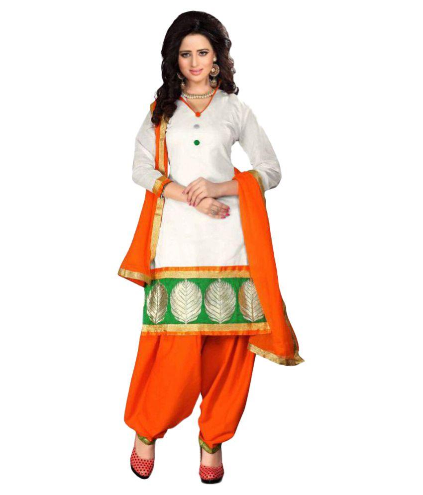 c0c2e5a927 Fancy Salwar Suit Hub White Chanderi Dress Material Price in India | Buy  Fancy Salwar Suit Hub White Chanderi Dress Material Online - Gludo.com