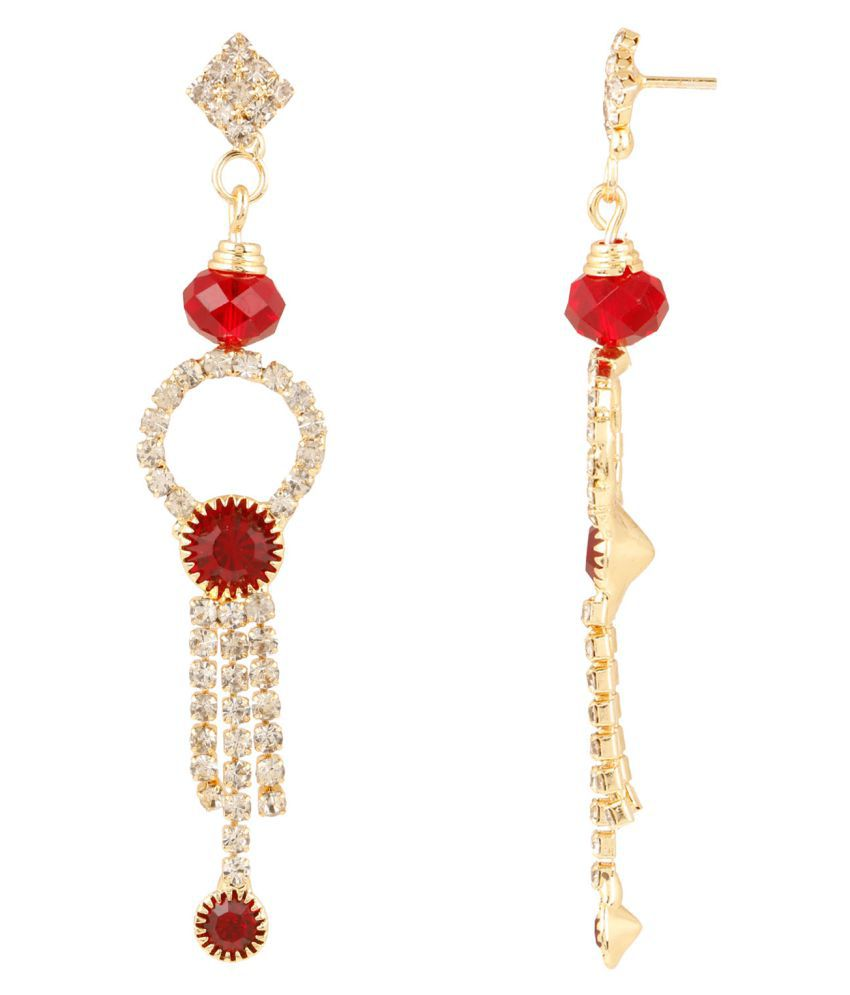 Evolution Art Red Emerald & Zircon Stones Earrings