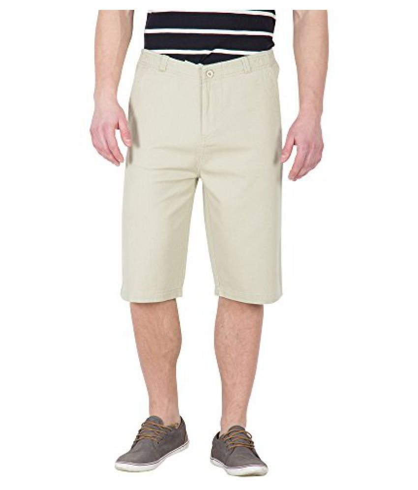 Beige Color Casual Three Fourth For Men