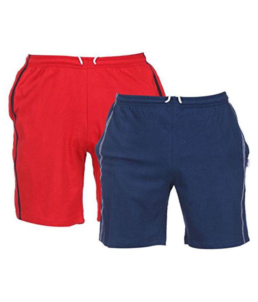 TeesTadka Mens Cotton Shorts Pack of 2