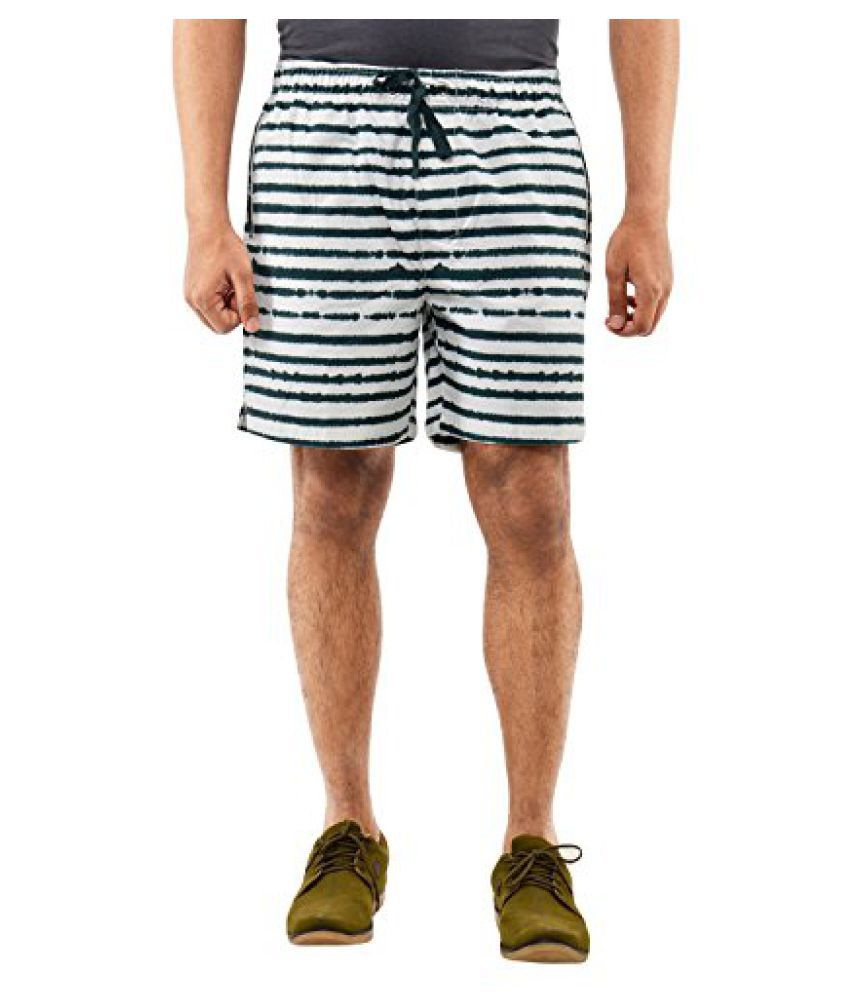 Blue Wave Green and White Printed Shorts for Men