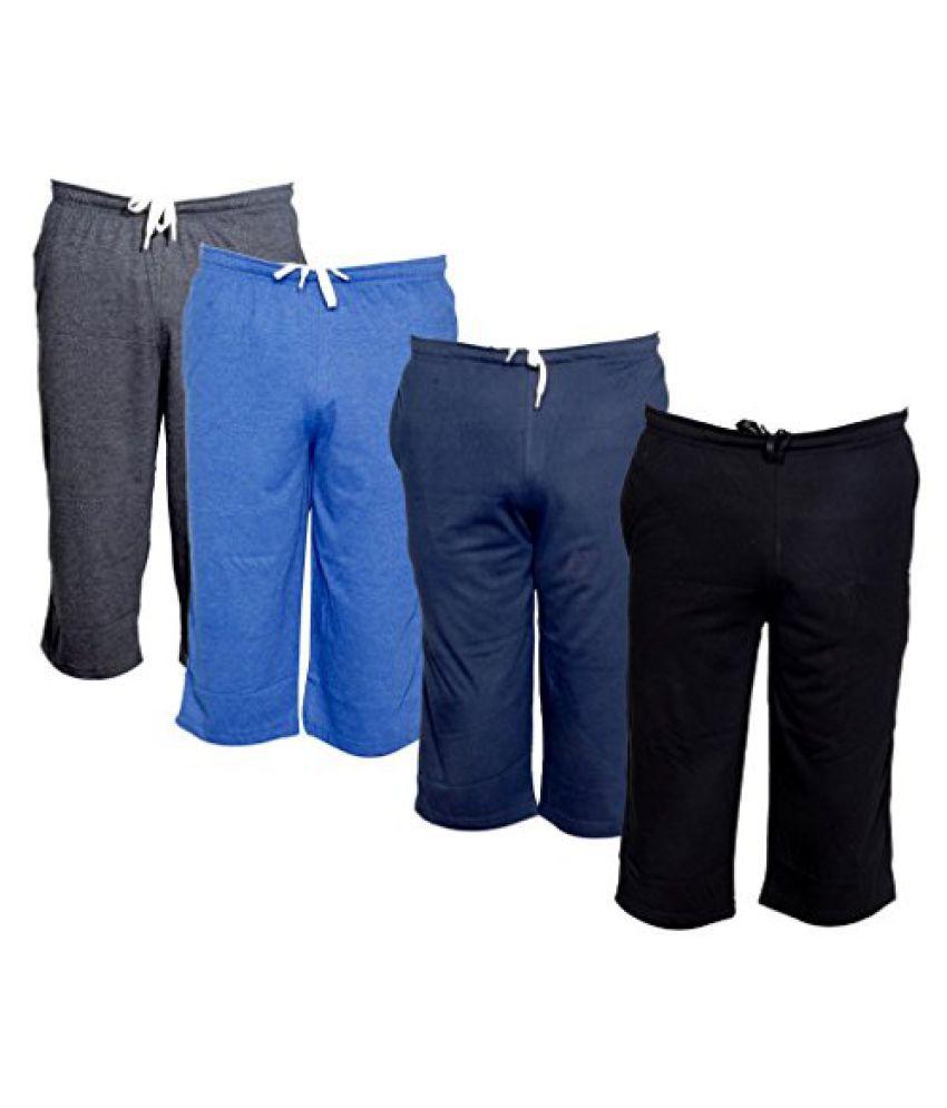 IndiWeaves Men's Regular Fit Casual Capri (Pack of-4)_Grey::Blue::Blue::Black _Size-42