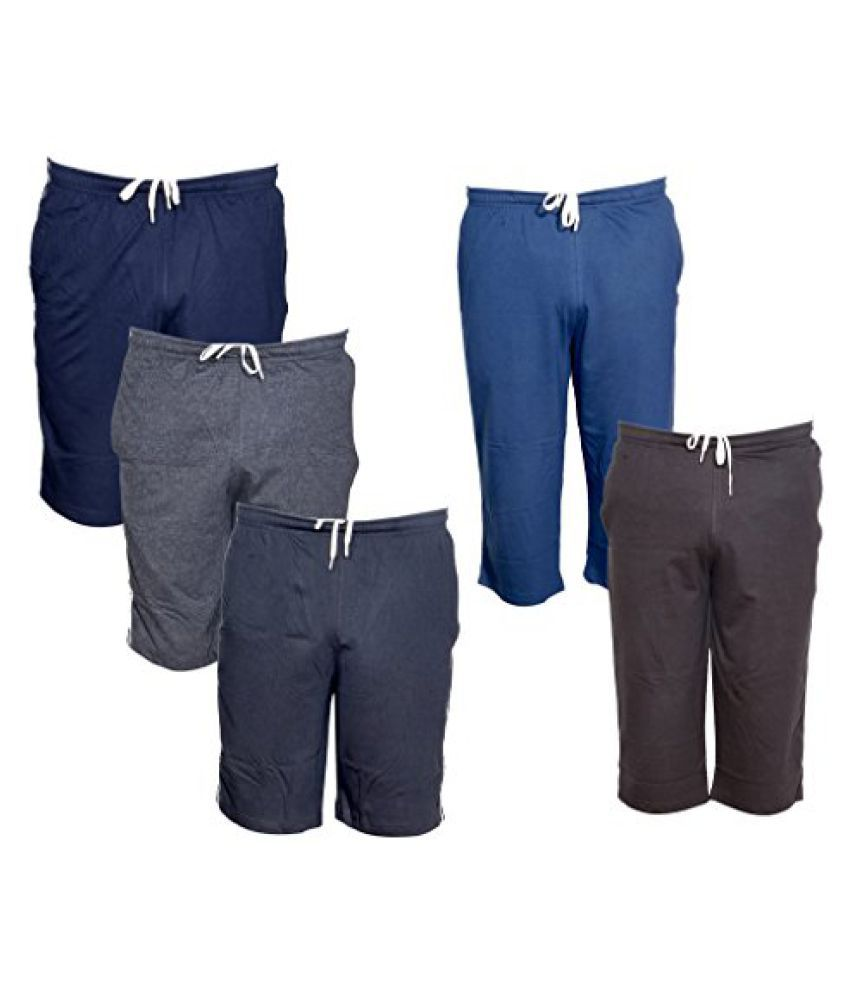 IndiWeaves Mens 2 Cotton 3/4 Capri and 3 Shorts/Barmuda Combo Offer (Pack of 5)