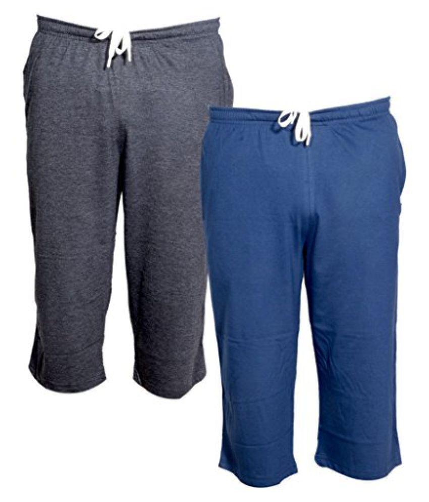 Indistar Men's Regular Fit Casual Capri _Grey::Blue _Size-38
