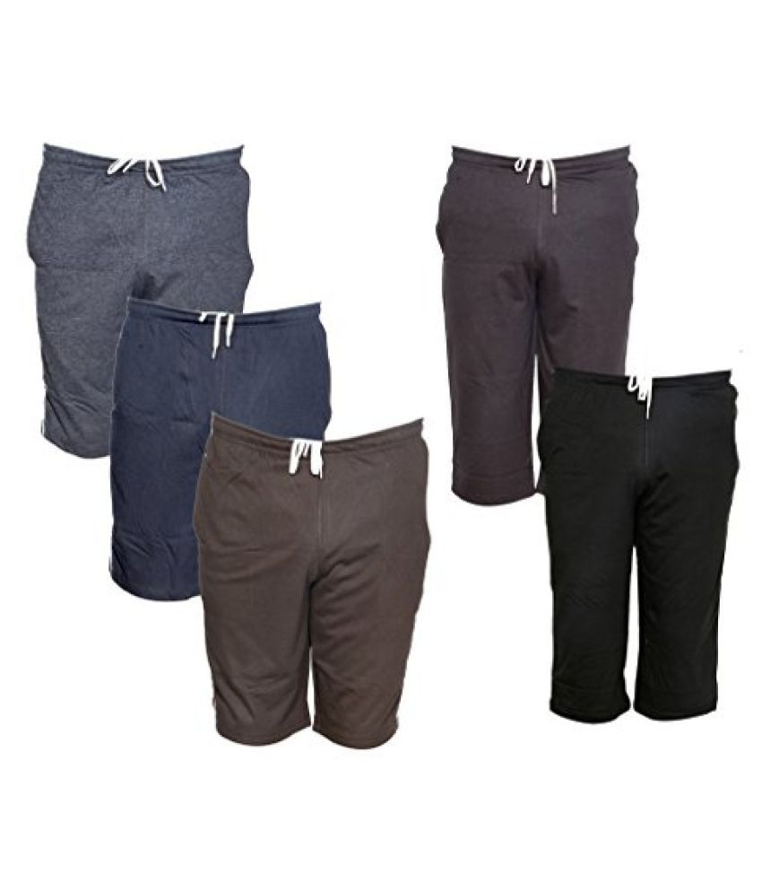 Indistar Mens 2 Cotton 3/4 Capri and 3 Shorts/Barmuda Combo Offer (Pack of 5)