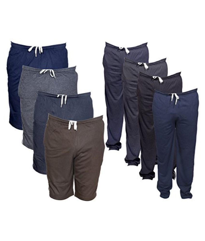 Indistar Mens Combo Pack(Pack of 4 3/4 Shorts/Bermuda and 4 Lower/Track pants)