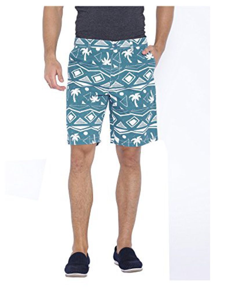 Blue Wave Blue Printed Casual Shorts for Men
