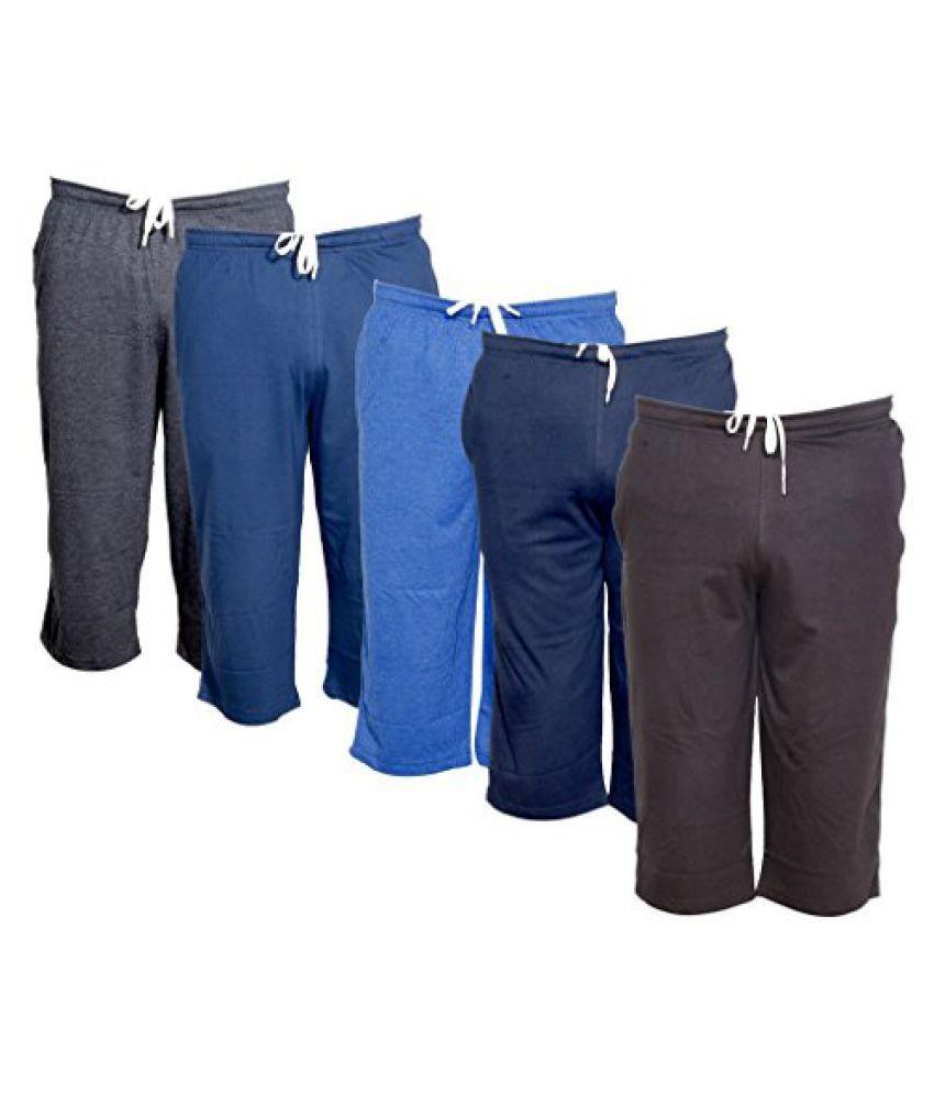 IndiWeaves Men's Regular Fit Casual Capri (Pack of-5)_Grey::Blue::Blue::Blue::Brown _Size-36
