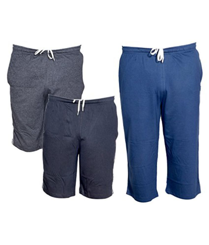 IndiWeaves Mens 1 Cotton 3/4 Capri and 2 Shorts/Barmuda Combo Offer (Pack of 3)