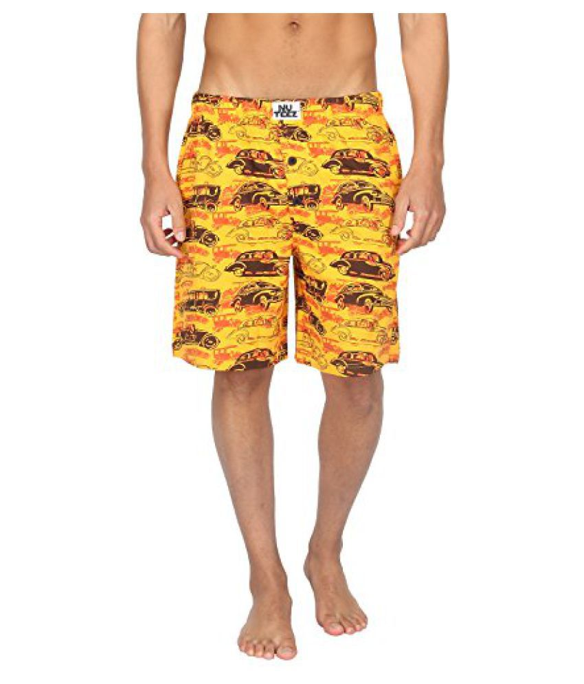 Nuteez Orange Cars Shorts For Men