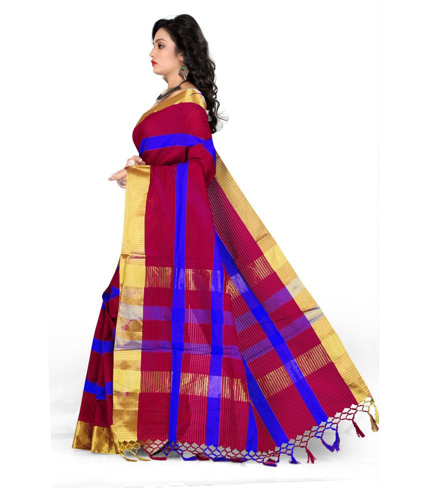 Silk Zone Multicoloured Cotton Silk Saree