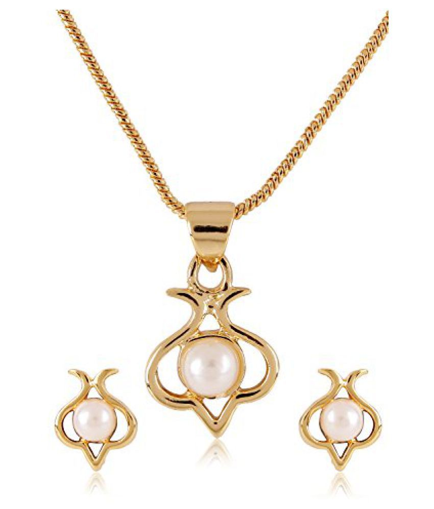 Estelle Gold Plated Necklace Set With Pearl For Women