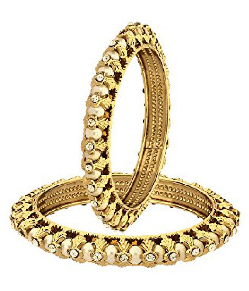 Zeneme Antique Pearl Designer Gold Plated Bangles Jewellery For Women and Girls Set of 2