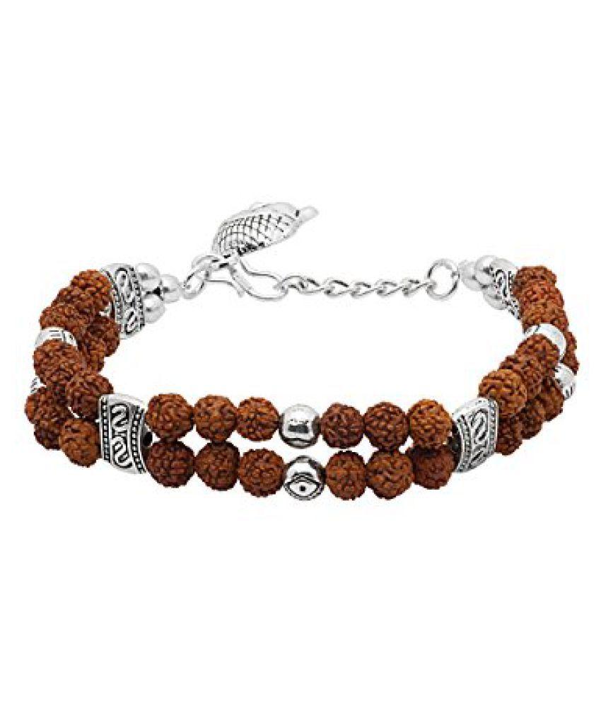 Voylla Lord Buddha & Rudraksh Beaded Bracelet