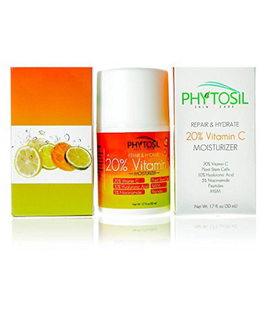 BEST Daytime Moisturizer with 20% Vitamin C, 10% Hyaluronic Acid, Plant Stem Cells, 5% Niacinamide & Peptides - Firms, Brightens Skin tone, Diminishes Lines & Wrinkles - Phytosil, 1.7 oz