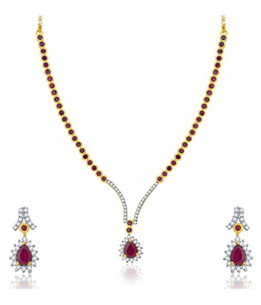 Sukkhi Bejeweled Gold And Rhodium Plated Ruby CZ Neklace Set For Women