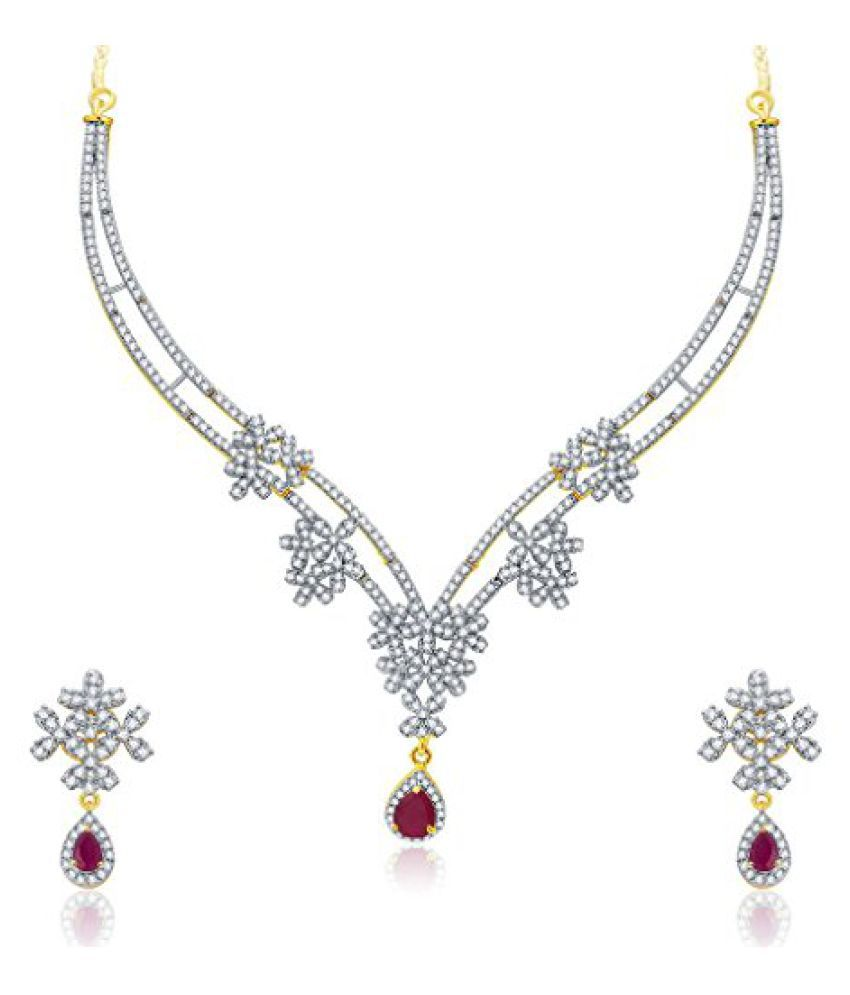 Sukkhi Engaging Gold And Rhodium Plated Ruby CZ Neklace Set For Women